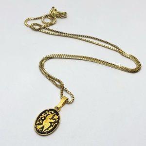 🆕Vintage Damascene Gold & Black Bird Necklace
